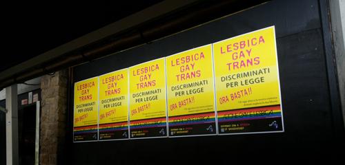 manifesti azione gay e lesbica